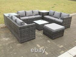 Outdoor Lounge Sofa Garden furniture Rattan Sofa Set with Table Set Grey