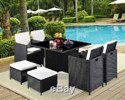 Outdoor Rattan Cube Set 4 Chair High Back & Stool Garden Conservatory Furniture