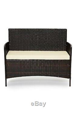 Outdoor Rattan Garden Furniture 4 Piece set Chairs Sofa Table Patio Madrid Brown