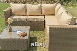 Outdoor Rattan Garden Furniture 5 Seater Corner Sofa Patio Set Sand with Cover