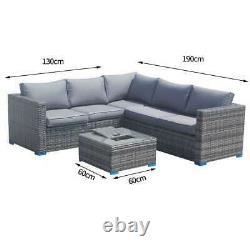 Outdoor Rattan Garden Furniture Corner Sofa Patio Lounge Grey With Ice Bucket