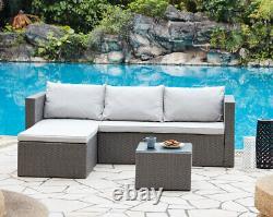 Outdoor Sofa Set Garden Furniture Black or Grey Rattan Lounge Sofa Chaise Table