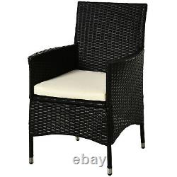 Outsunny 2PC Outdoor Rattan Armchair Wicker Dining Chair Set Garden Furniture