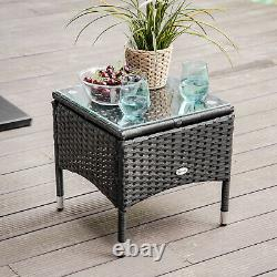 Outsunny 3 PCS Rattan Lounger Recliner Bed Garden Furniture Set with Side Table
