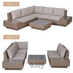 Outsunny 4PC Sectional Rattan Sofa Set Garden Furniture Patio Coffee Table Chair