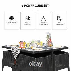 Outsunny 5 PCS Outdoor PP Rattan Garden Dining Cube Set Patio Furniture Set