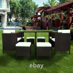 Outsunny 9PC Rattan Furniture Set Garden Cushion Sofa Chairs Table Patio Outdoor