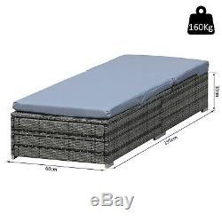 Outsunny Rattan Recliner Lounger Garden Furniture Sun Lounger Recliner Bed -Grey