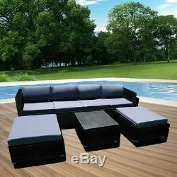 Panana 7 pcs Rattan Garden 6 Seater Furniture Sofa Table Chair Set Patio