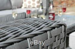 Papaver Fully Assembled 8 seater Garden Furniture Patio Rattan Sofa Set Grey