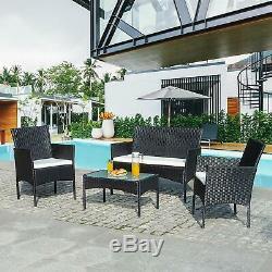 Patio Black Rattan Garden Furniture 4Piece Set Table Chairs sofa cushion Outdoor