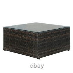 Patio Rattan Lounge Garden Furniture Set Chairs Table Outdoor + Pillow & Cushion