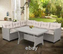 Poly Rattan Corner Sofa Set Conservatory Patio Outdoor Garden Furniture WPC