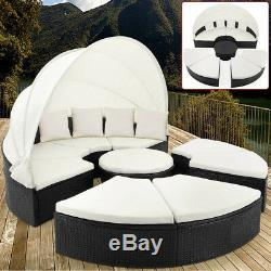 Poly Rattan Day Bed Lounger Outdoor Garden Furniture Patio Sofa Roof Sunbed