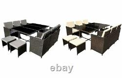 Poly Rattan Dining table brown or black lounge Outdoor garden furniture Cube 11P