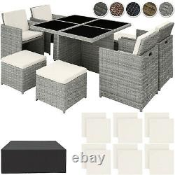 Poly Rattan Furniture Cube Set Dining Room Wicker 8 Seater Table Garden Patio