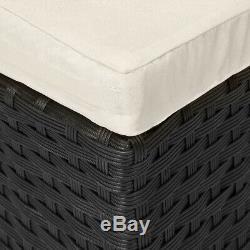 Poly Rattan Garden Day Bed Ø185cm Patio Sun Lounge Black Outdoor Sofa Furniture