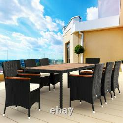 Poly Rattan Garden Furniture 8+1 Dining Table Chairs Set Outdoor Patio Lounge