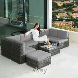 Poly Rattan Garden Furniture Lounge Set 7 Seater Table Wicker Patio Balcony grey