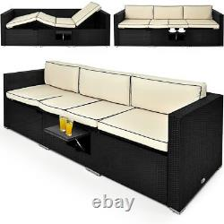 Poly Rattan Sofa Garden Lounger Furniture Recliner Conservatory Outdoor Wicker