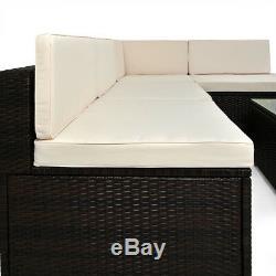 Poly Rattan Sofa & Table Set Garden Furniture Corner Outdoor Conservatory Brown