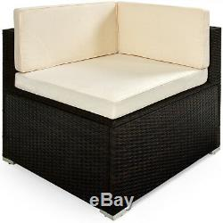 Poly Rattan Sofa & Table Set Garden Furniture Corner Outdoor Conservatory Brown