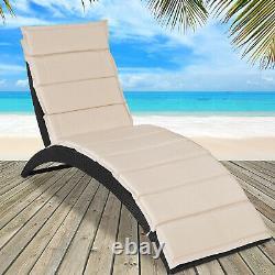 Poly Rattan Sun Lounger Garden Patio Pool Outdoor Furniture Deck Chair Recliner