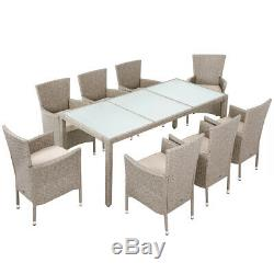 Poly Rattan Table Chairs Set Garden Patio Furniture Beige Cream 8+1 Dining