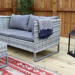 PreOrder 1st August Rattan Garden furniture grey With Corner Storage Corner Sofa