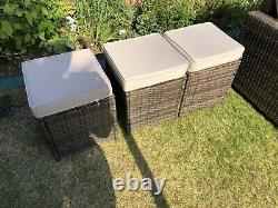 Premium Rattan Corner Sofa Table And Stools 6 Piece Outdoor Garden Furniture