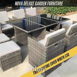 Rattan 10 Seater Garden Dining Furniture Cube Sofa Set Table Outdoor Patio 11