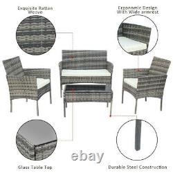 Rattan 4 Piece Set Garden Conservatory Patio Furniture Table Sofa & Chairs Grey