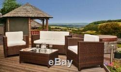 Rattan 4 seat Wicker Weave Garden Furniture Conservatory Sofa Set + RAIN COVER