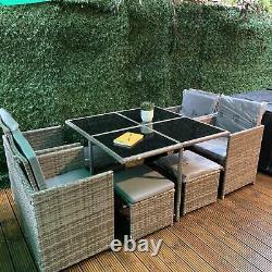 Rattan 8 Seater Garden Dining Furniture Cube Sofa Set Table Outdoor Patio Uk