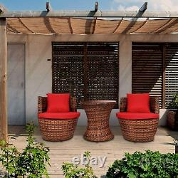 Rattan Bistro Set Outdoor Garden Home Patio Furniture 2 Chairs & Coffee Table