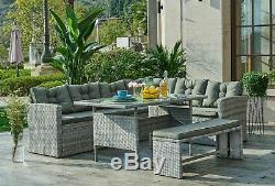 Rattan Corner Garden Furniture Dining Set Outdoor Sofa Table & Bench Lounge Set