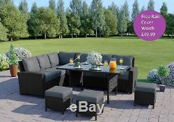 Rattan Corner Garden Sofa Dining Table Set Furniture Black Brown Grey FREE COVER