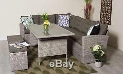 Rattan Corner Garden furniture Sofa 8 Seater with Bench Dining Set Grey