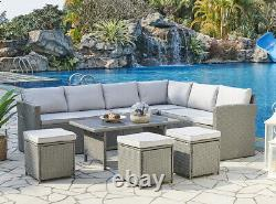 Rattan Corner Group Garden Furniture Set Outdoor Coffee Table Sofa Stool Set