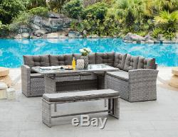 Rattan Corner Group Garden Furniture Set Outdoor Dining Sofa Set Table & Bench