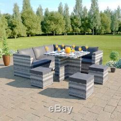 Rattan Corner Sofa Dining Table Set Stools Garden Furniture 7 Seater Black Grey
