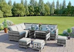 Rattan Corner Sofa Garden Patio Furniture Set Dining Table Stools Grey 9 Seater