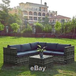 Rattan Corner Sofa Table Set 6 Seater Garden Furniture Patio PE Wicker Outdoors