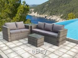 Rattan Corner Wicker Garden Outdoor Table And Chairs Furniture Patio Set Grey