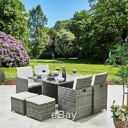 Rattan Cube Dining Table Garden Furniture Patio Set Grey Brown Black