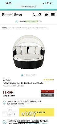 Rattan Day Bed Garden Furniture Set Black And Cream