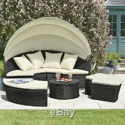 Rattan Daybed & Table Garden Furniture Outdoor Patio Lounger Bed Sofa Canopy Set