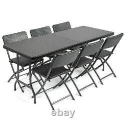 Rattan Effect Garden Furniture Set Folding 6ft Dining Table 6 Chairs Christow
