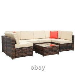 Rattan Garden 7 Pcs Furniture Set Sofa Patio Outdoor Table Chairs Patio Set UK