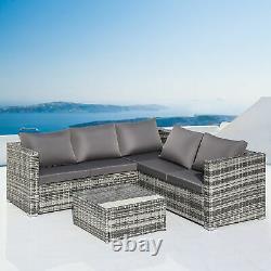 Rattan Garden Corner Furniture Sofa Set Coffee Table Outdoor Conservatory Patio
